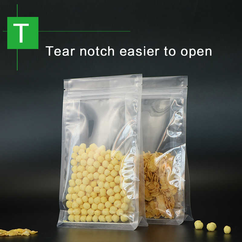 block bottom stand up pouch with zipper clear plastic laminated zip lock flat bottom quad seal rice seed food packaging bag