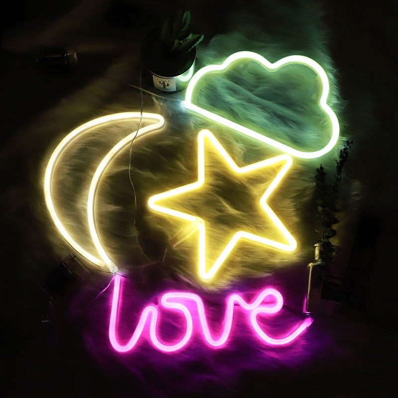 Decorative LED Moon Star Shaped Neon Sign Neon Night Light Wall Decor for Baby Kids Room Bedroom DecorationDecorative LED Moon Star Shaped Neon Sign Neon Night Light Wall Decor for Baby Kids Room Bedroom Decoration