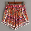 Summer Style Women Short Trousers Casual Elastic Waist Print Tassel Decoration Beachwear Shorts