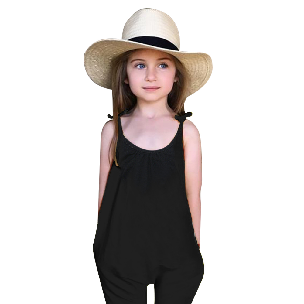 цены Black Baby Girls Jumpsuit Clothes Children Soild Halter One Piece Cotton Baby Girls Summer Baby Kids Clothing salopette fille