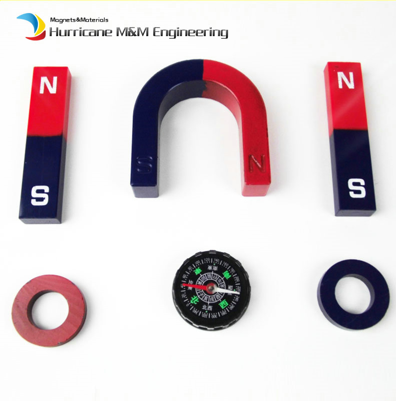 1 Set Ferrite Magnet Experiment Magnet Kits Large Type Bar U and Ring with Compass blue red / Toy magnet Magnetic Teaching Tool ring ferrite magnet 3pcs pack dia60 32x10mm 60 10 32mm black magnet