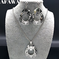 2018 New Stainless Steel Jewlery Sets for Women Flower Silver Color Earrings Necklace African Jewelry Set taki setleri S178364