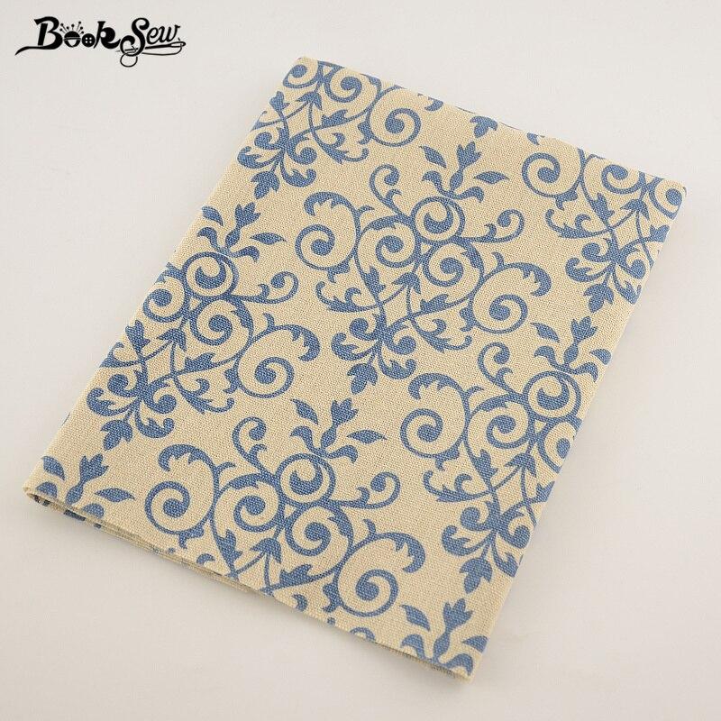 Booksew textil del hogar del algodón de lino tela azul patrón de diseño de mater