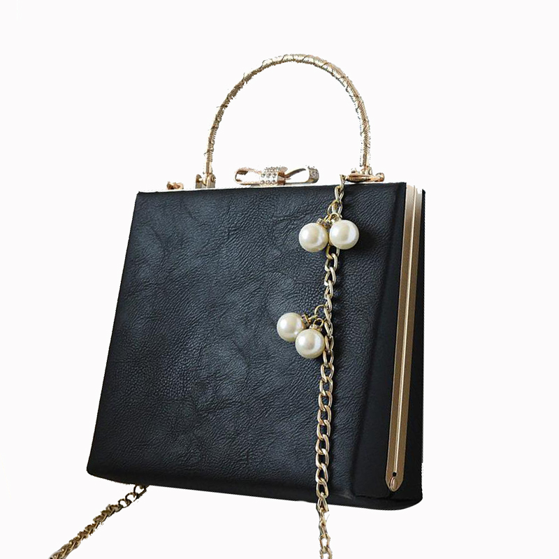 NEW arrived Ladies PU Leather Retro Handbag Luxury Women Bag Evening Bag Fashion black Pearl chain shoulder bag Party Clutch bag  new arrived ladies pu leather retro handbag luxury women bag evening bag fashion black pearl chain shoulder bag party clutch bag