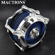 Chrome Air Cleaner Blue Intake Filter For Harley XL Sportster 2004-2019 Touring Street Road Glide 2000-2019 Softail Dyna FXDLS