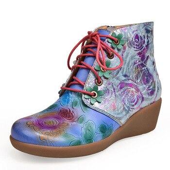 Женские ботинки из натуральной кожи Artidy, осенне-зимние удобные тонкие ботинки с этническим принтом на каблуке, новинка 2019