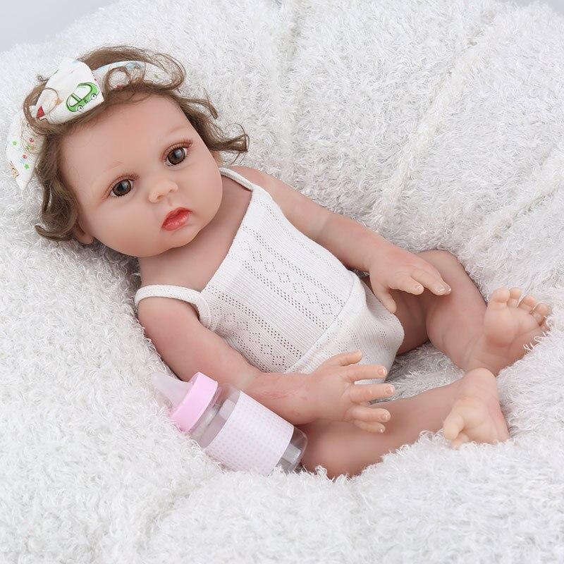 NPK POUPÉE Reborn Bébé 17 pouces Pleine Vinyle Lucy Réaliste Faux Infantile Éducatifs Belle jouets de bain Enfants Playmate Mignon Bébé Boneca