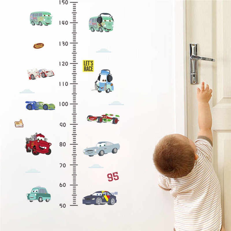 Cartoon Car Wall Stickers For Kids Room Height Measure Boy Bedroom Decoration Growth Chart Mural Art Decals Boy's Room Deco