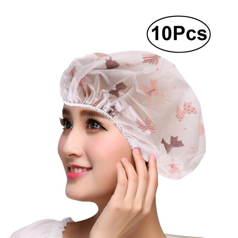 Dog Vests Luoem 10pcs Women Waterproof Shower Bath Cap Hat With Bear Bowknot Balloon Cherry Design For Adult Pure Whiteness Accessories & Parts