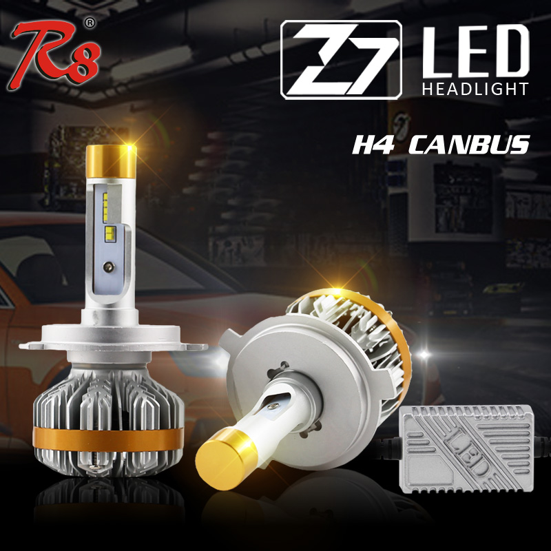 R8 Factory New Design High Lumen Auto Head Lamp H4 H13 9004 9007 Hi/Lo Beam LED Headlight Bulbs 60W 7000LM 6500K Canbus