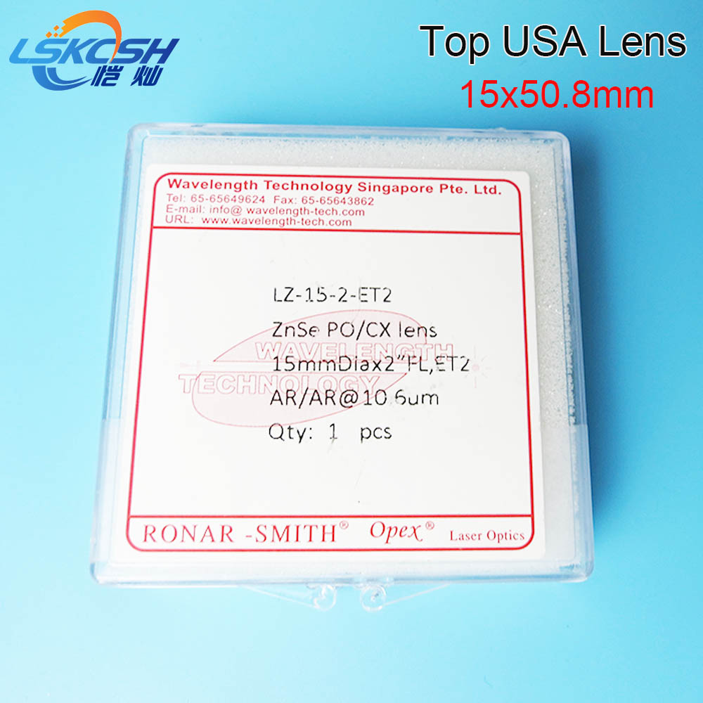 LSKCSH 15mm TOP quality USA CO2 laser focus lens Focal length 50.8mm Trotec speedy 100/GCC Co2 laser cutting/engraving machines free shipping high quality usa znse co2 laser focus lens dia 15mm focal length 50 8mm for trotec speedy 100 gcc co2 laser machin