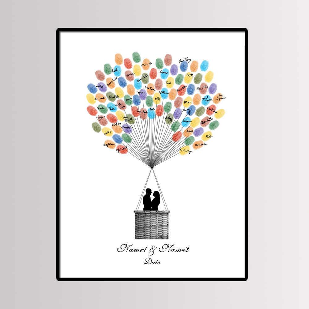 Favor de partido 40*60 centímetros Multi Tamanho Do Casamento Da Árvore Da Impressão Digital Convidado Livro Assinatura Pintura Pintura Da Lona Beijo do Casal com Almofada de Tinta