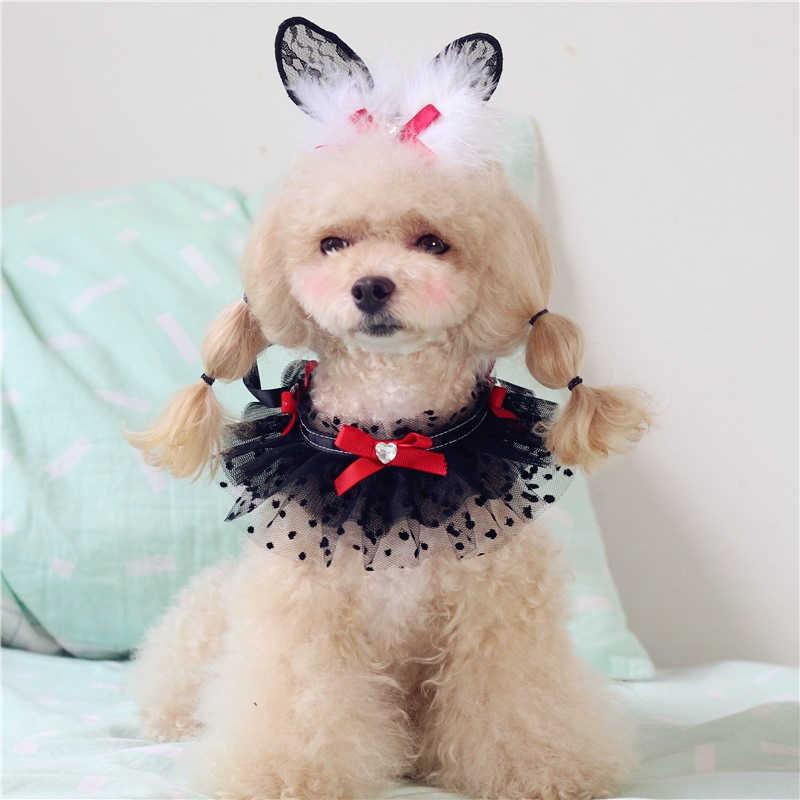 Accessoires pour animaux de compagnie chiot chat mignon écharpe Teddy petit chien que l'ours VIP dentelle salive serviette bavoir dentelle collier Accessoires X17