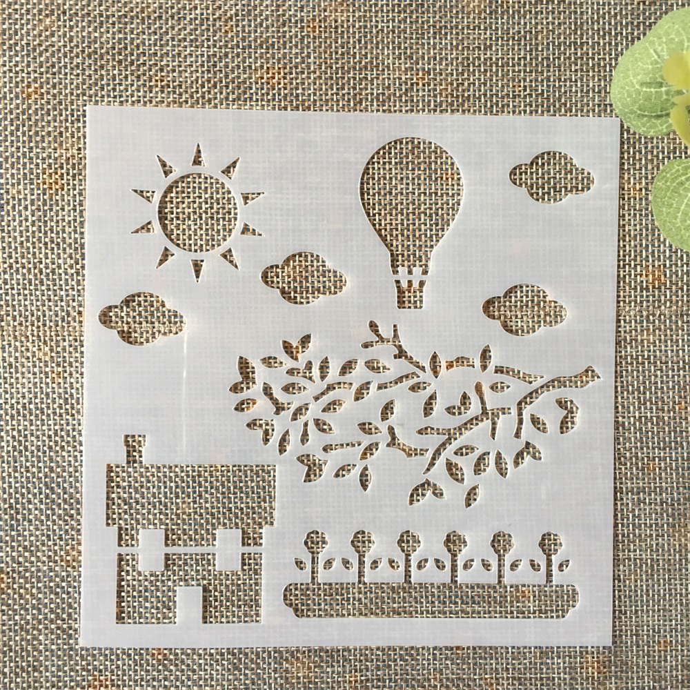 13cm Pastoral Farm Hot Balloon DIY Layering Stencils Painting Scrapbook Coloring Embossing Album Decorative Card Template
