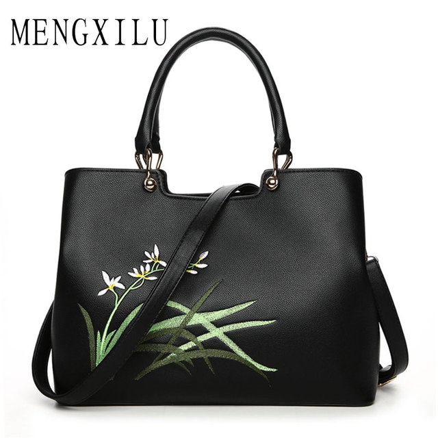 Mengxilu Women S Handbags Embroidery Bags Famous Brand Brands Luxury Designer