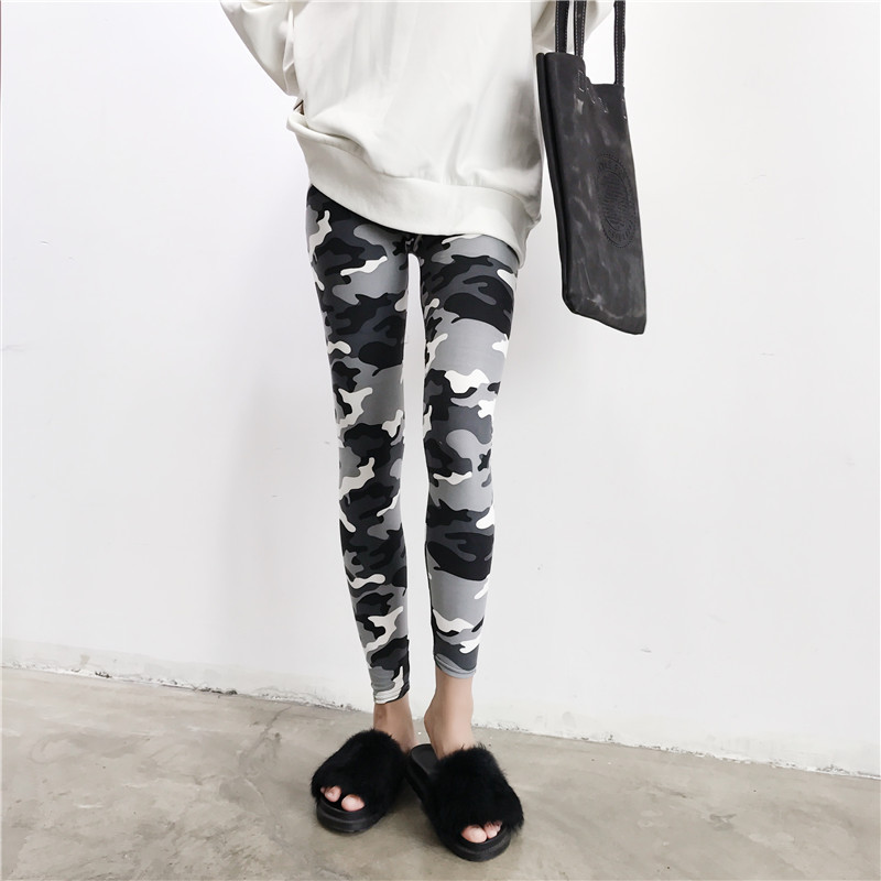 Jeseca High Waist   Pants   Camouflage Skinny Women Streetwear Pencil   Pants   Female Sexy Swearpants Korean Style Ladies   Pants     Capris