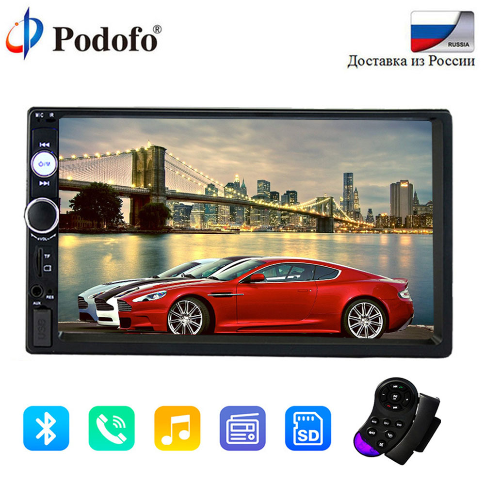 Podofo 2Din Car audio 7 HD Car Multimedia Player Bluetooth Autoradio Stereo Touch Screen auto Radio MP5 Player TF USB FM camera podofo 2 din car radio 7 hd audio stereo bluetooth multimedia player mp5 usb sd fm 2din touch screen autoradio rearview camera