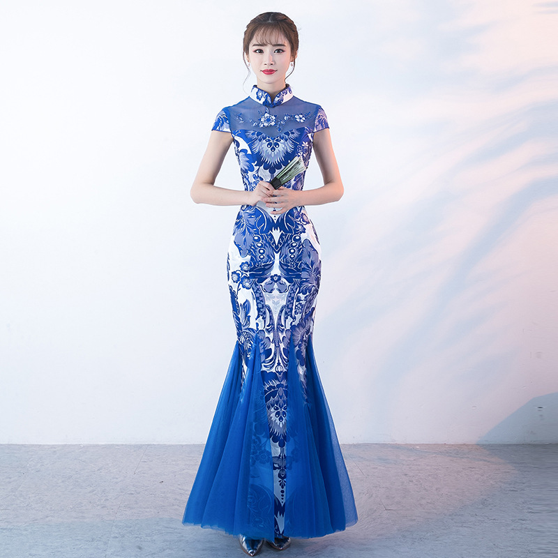 7af1db85e5d Сине-белые фарфор китайский традиционный вечернее платье Мода Русалка с длинным  современные Qipao Cheongsam Восточный