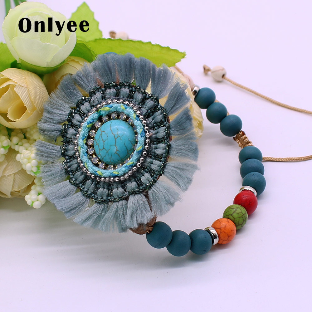 Onlyee New Fashion Bead Bracelet and Bohemian Lady Flower Handmade Beaded Wristband Bracelet Charm Wooden Bead Bracelet Jewelry
