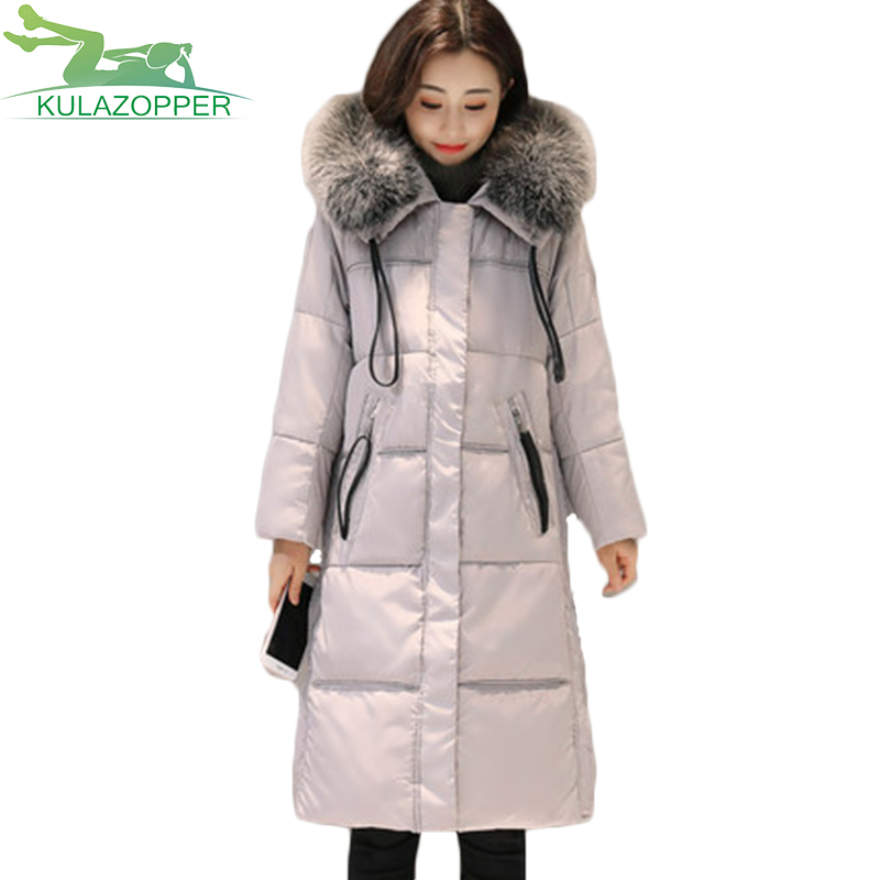 2017 Winter Women down jacket New fashion Korean version of the long section of large fur collar female thick large Coat XH57 new women s fashion authentic korean slim fur collar down jacket female long thick warm white duck down jacket for snow h1013