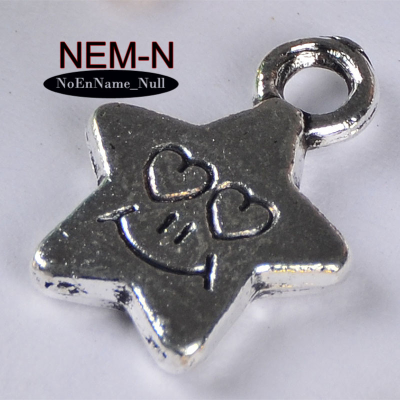 20pcslot Fashion Vintage Love stars five pointed star small pentagram pendant necklace For DIY Bracelet Bangle Findings jewelry