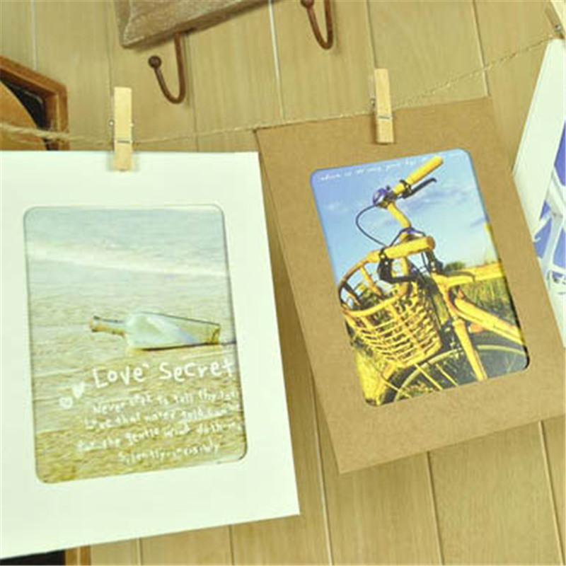 10pcs vintage photo frames collage creative picture frame marco fotos diy 6 inch paper frame hanging