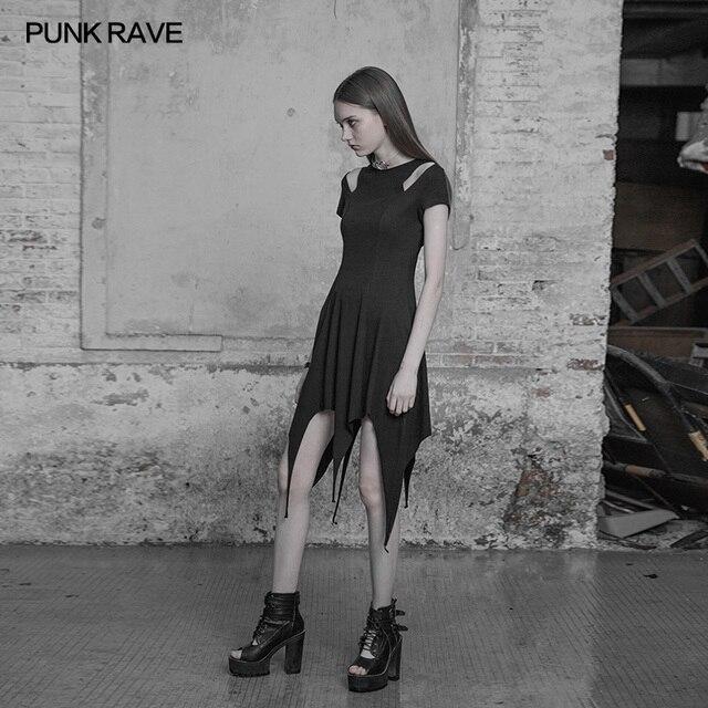Fashion Irregular Hem Dress Gothic Proper Segmentation Showing Proportion Of Stature Hollow Shoulder Dress PUNK RAVE OPQ-316LQF 2