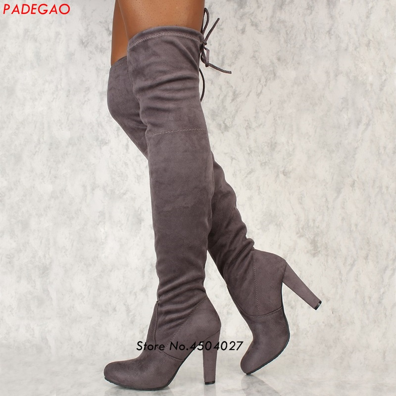 Spring Autumn Over The Knee Boots Square High Heel Women Boots Sexy Ladies Lace Up Fashion Thigh High Boots