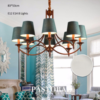 Industrial Style Chandeliers 8 Lights E12 E14 Fabric Clothe Shade Metal Arms Living Bed Dinning Room Retro Lamp
