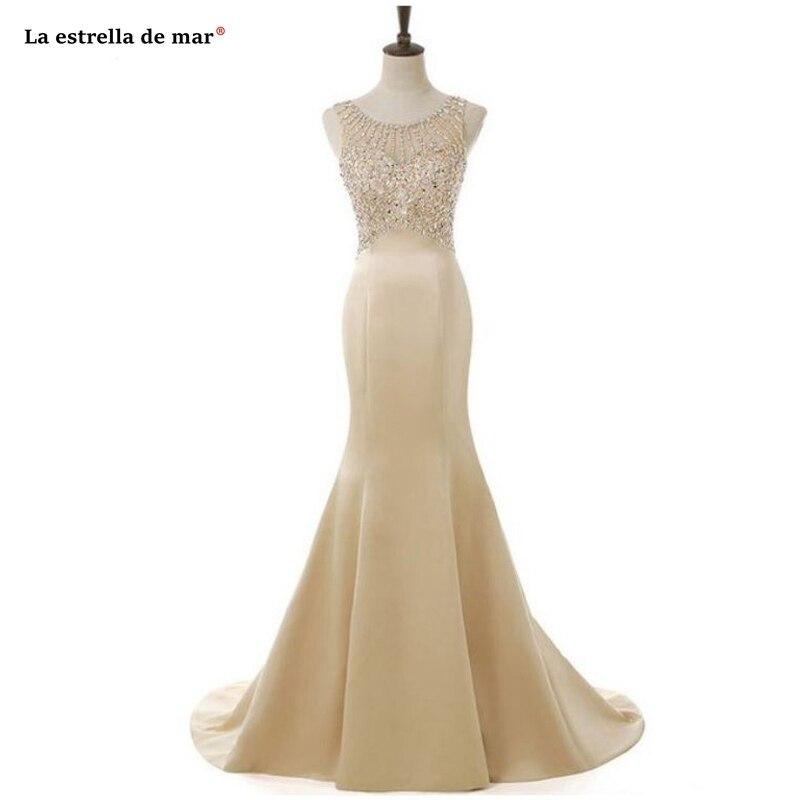 Vestido de madrinha 2019 new satin crystal champagne gold purple royal blue white red silver   bridesmaid     dress   long damigella