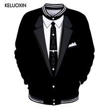 KELUOXIN 3D falso dos piezas Hoodies hombres mujeres moda Funny falso traje  3D Sudadera Harajuku Hip Hop chaqueta de béisbol . 51ae42a6ff1