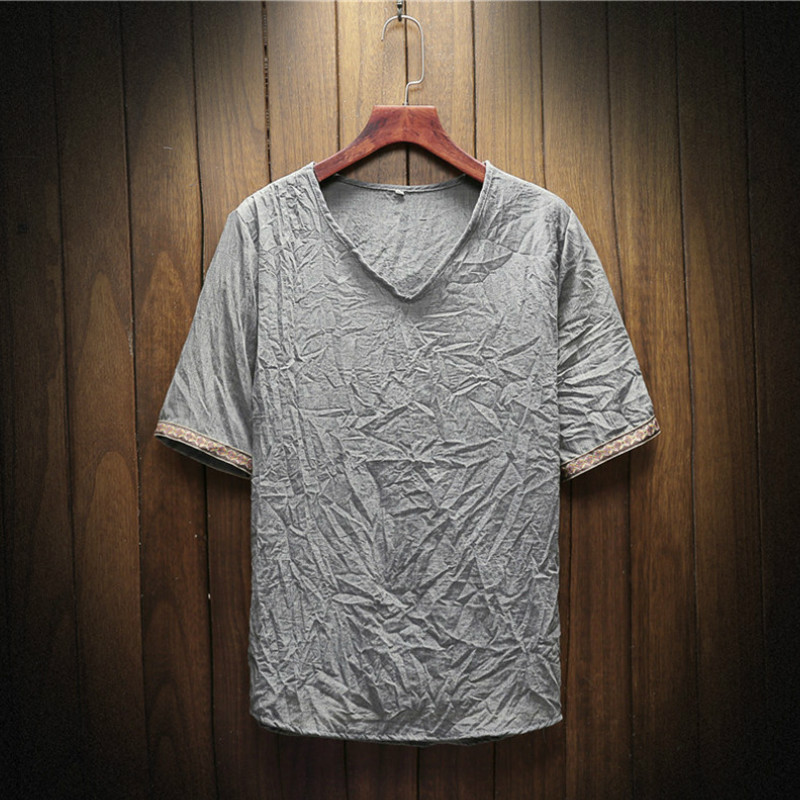 New T shirt Men V-Neck t shirts Harajuku Fashion Mens Tops Tshirt Linen Tees Shirts Short Sleeve Print T-shirts