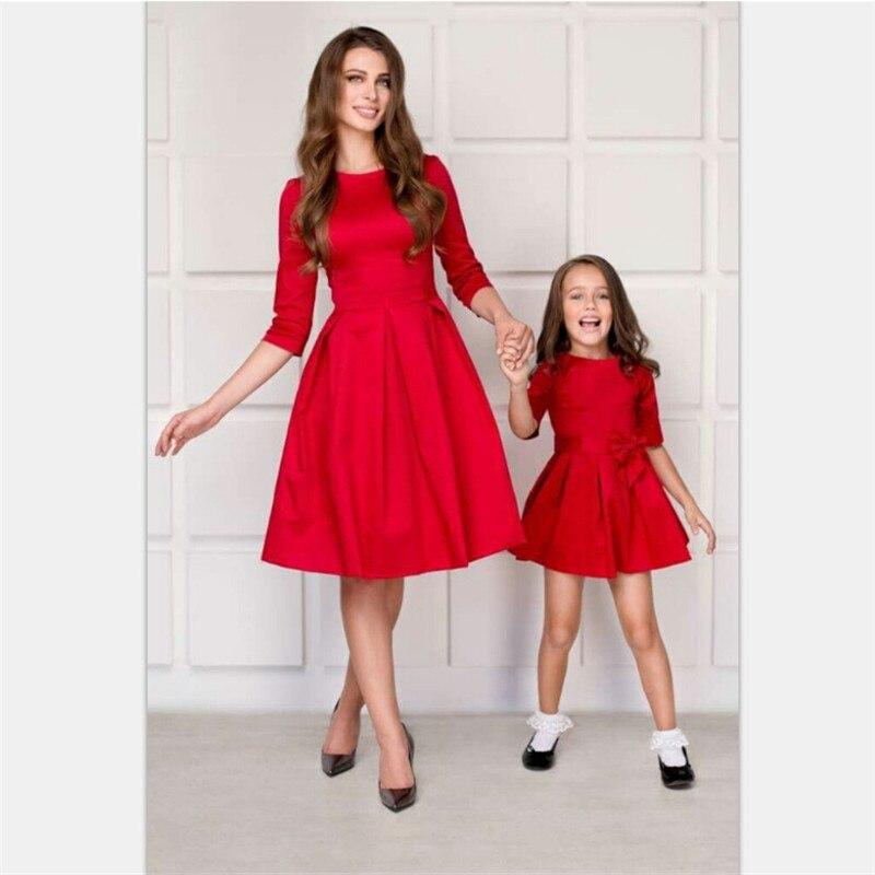 2018 Girls Princess Dress Red Mother Kids Mother Daughter Dresses for Wedding Party Girl Dress Children's Formal