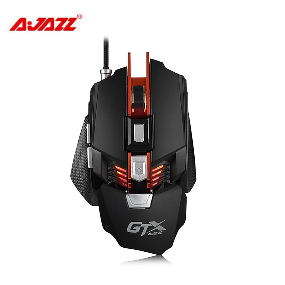Ajazz GTX E-sport Gaming Mouse 4000 DPI 7 Buttons Wired USB 2.0 Optical Mouse Adjustable Wrist Pad Weight Breathing LED Light dare u wcg armor soldier 6400dpi 7 programmable buttons metab usb wired mechanical gaming mouse