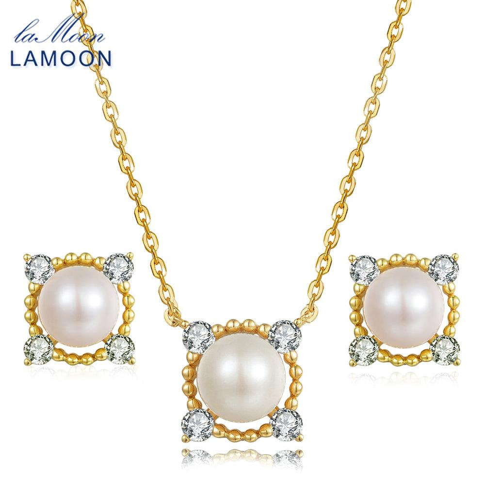 LAMOON 8mm 100% Natural Freshwater Pearl Jewelry 925 Sterling Silver Jewelry Pendant Jewelry Set V036-2 crystal jewelry set sterling silver jewelry 100% 925 formal jewelry set natural freshwater pearl