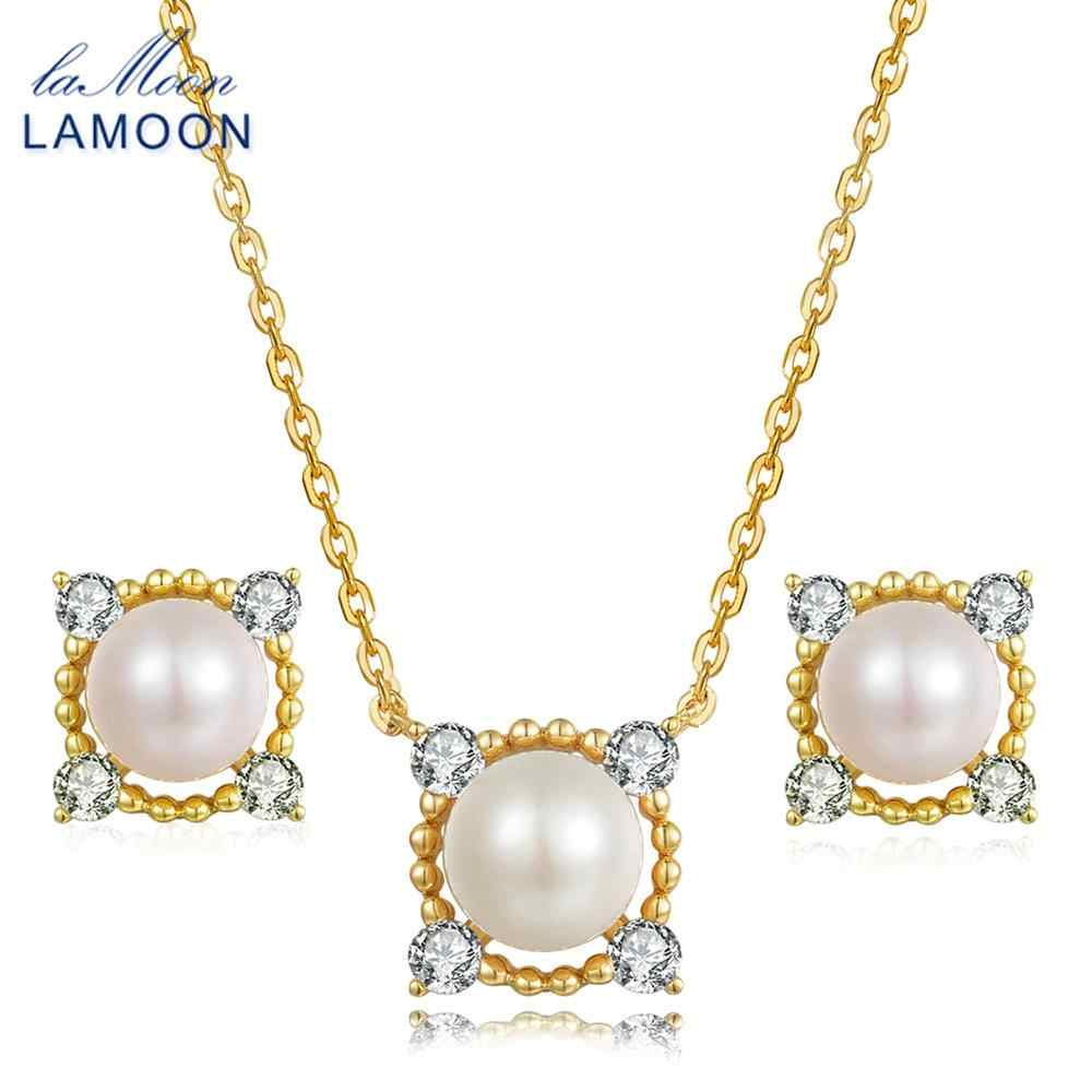 LAMOON 8mm 100% Natural Freshwater Pearl Jewelry 925 Sterling Silver Jewelry  Pendant Jewelry Set V036-2