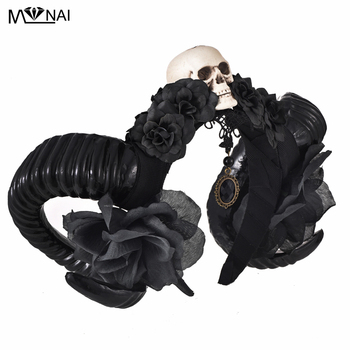 Unique Girls Halloween Stereo Devil Horns Skull Headband Gothic Sheep Horn Flowers Headdress Hairband Cosplay Headwear Accessory 1