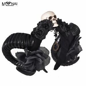Image 2 - Diadema de Halloween con cuernos del diablo para niñas, tocado de flores, tocado, diadema gótica de cuerno de oveja, accesorio para la cabeza de Cosplay