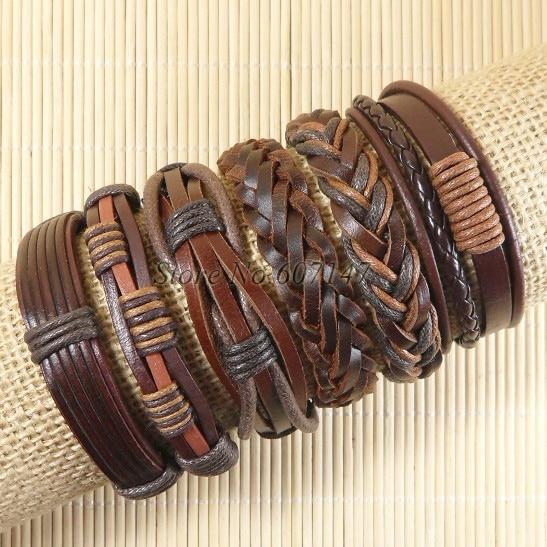 Nouveau Gros 6 pcs À La Main Weave Wrap Chanvre et Véritable Charme punk  charme en cuir bracelet pour hommes femme pulseira masculina-S51 0ceb8f52287