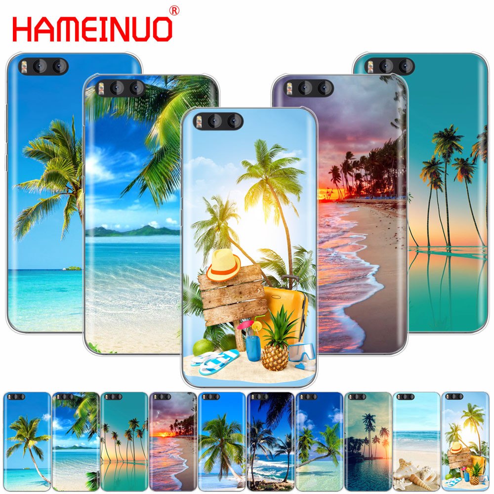summer Beach Scene at Sunset on sea Palm Tree Cover Case for Xiaomi Mi A1 A2 3 4 5 5S 5C 5X 6 6X 4S 4I 4C NOTE MAX 2 mix plus