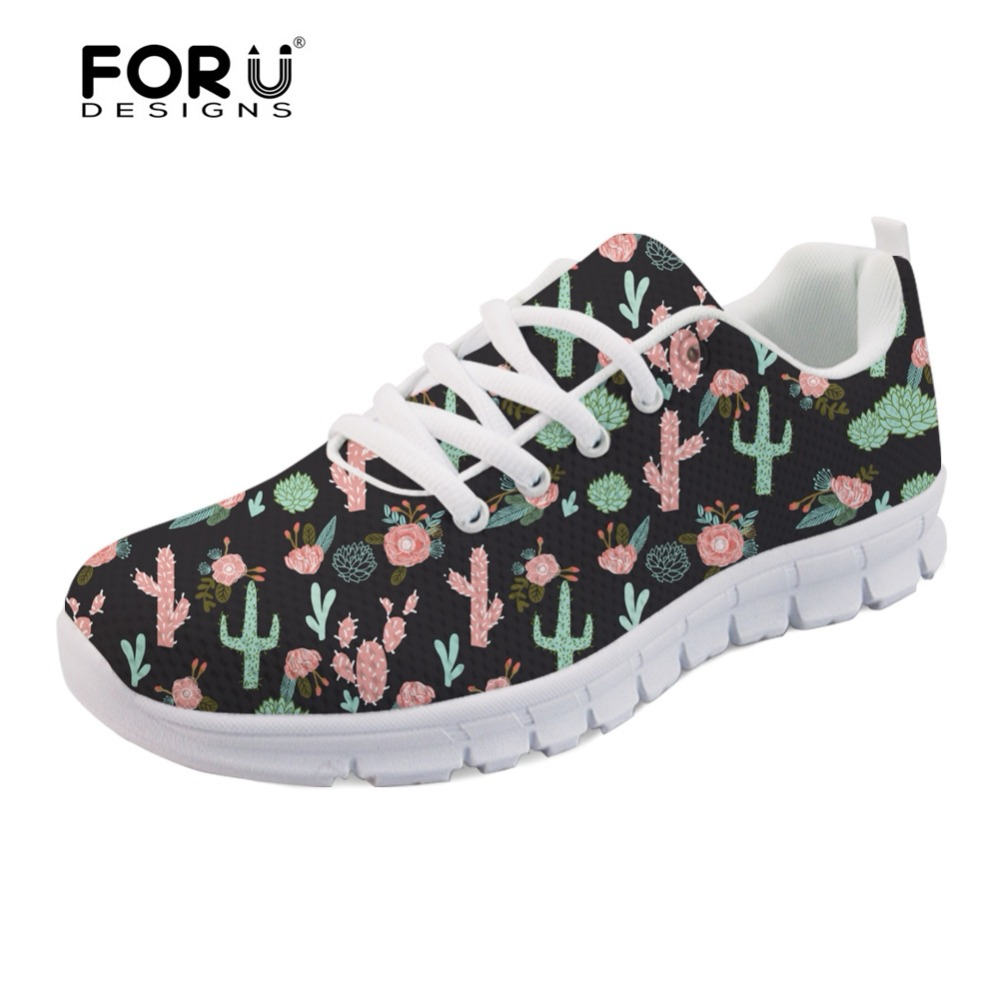 FORUDESIGNS Flats Women Fashion Light Weight Mesh Shoes Cactus Flowers Prints Womens Casual Sneakers Comfortable Zapatos Mujer