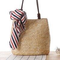 Brand Straw Bags Summer Flower Decorative Scarves Bohemia Fashion Women Handbags Stripes Shoulder Bags Beach Bag Big Tote 2019 Shoulder Bags