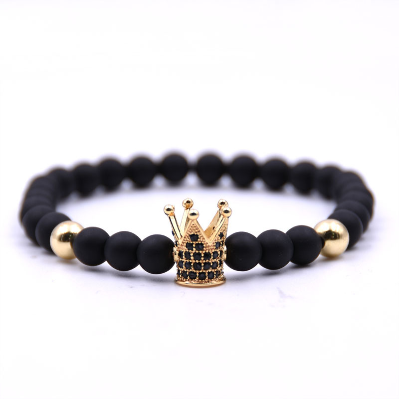 Natural stone bracelets High quality Crown Men's bracelets Beads Bracelet For Women Men