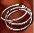 new fashion pure silver Engraving Flower bangle Bohemia round belly opening bangle