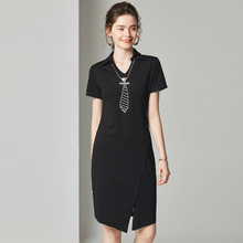 купить Dress Summer 2019 New Women Little Black Dress Turn Down Collar Short Sleeves Solid Color Irregular Dress Knee Length S-XL дешево