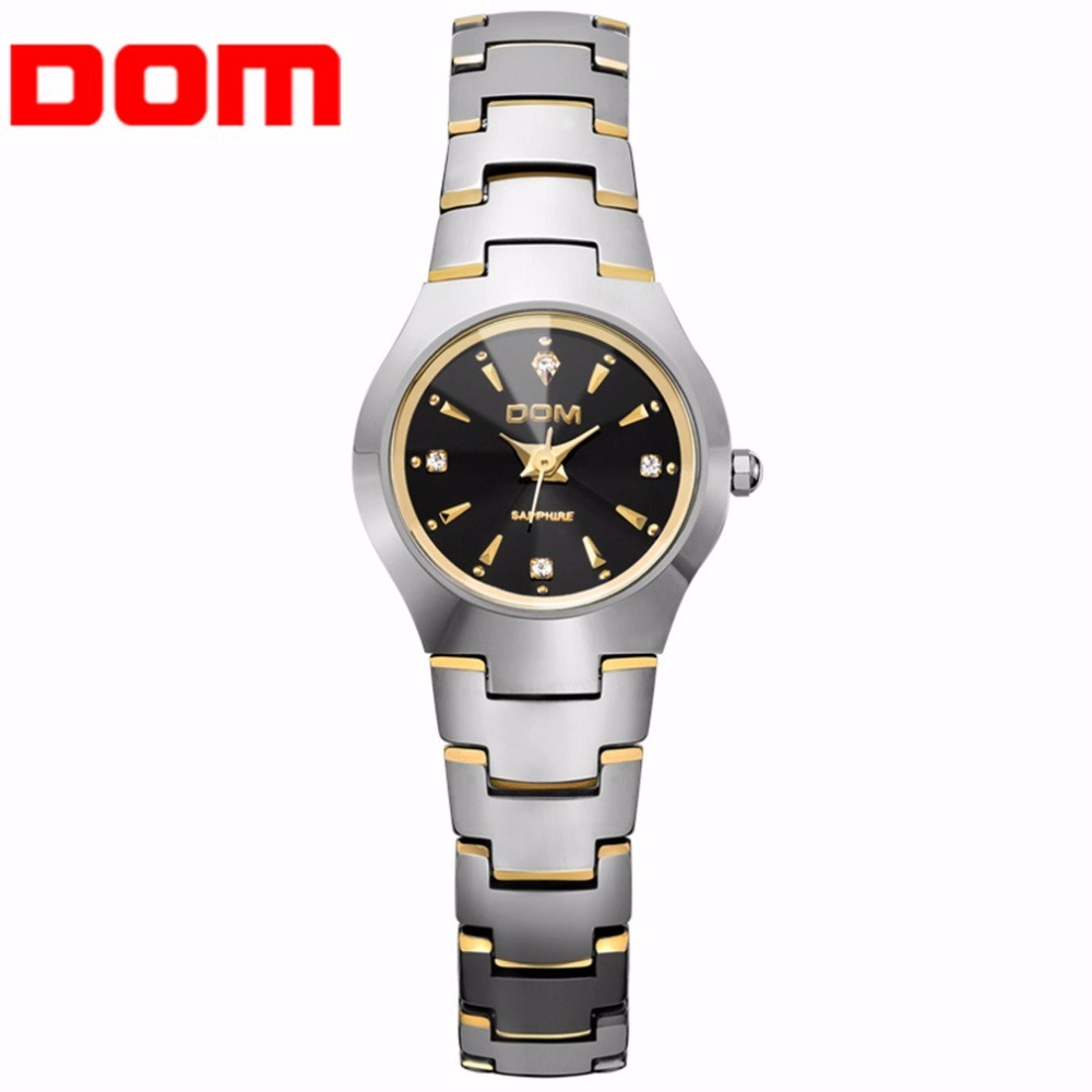 ФОТО DOM Top Luxury Design Men Women Lovers Wrist Watch Tungsten Steel Strap Business Quartz WristWatch Relojes Mujer 2017 Best Gift