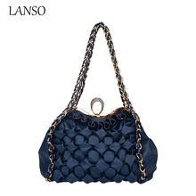 Lanso Brand Luxury Crystal Diamont Lattice Evening Bag font b Party b font font b Clutch