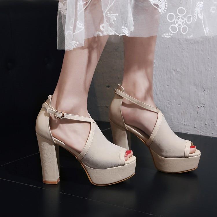 da102ec123b ... Party Rock Chunky Square Hot Women Dress Platform Heels Punk PXELENA  Shoes Lady Vintage Block 2018 ...