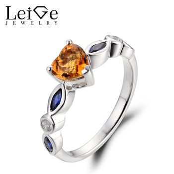 Leige Jewelry Citrine Ring Wedding Engagement Rings Sterling Silver 925 Heart Cut 0.74 CT Yellow Gemstone Fine Jewelry