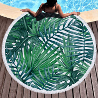 Tropical plants Tassel Mandala Tapestry Boho Round Beach Towel Toalla Sunblock Blanket Bohemian Yoga Mat Big Area tapestry 150cm